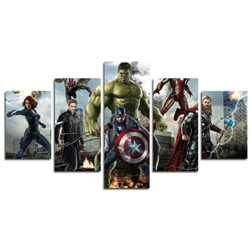 Lienzo impreso 5 paneles con los superhéroes de la película Los Vengadores de Marvel, cuadro artístico para las paredes de casa, la sala de estar, la oficina, decoración idea para regalo(sin marco)