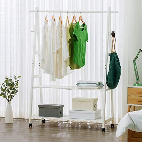 Zcyg Perchero con zapatero de madera maciza con 2 estantes de almacenamiento para pasillo, dormitorio, oficina (color: blanco, tamaño: 100 x 45 x 149 cm)