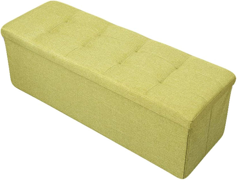 LINGYAO Cotton and Linen Long Storage Stool Multi-Function Creative Home Osman Footstool Folding Large Capacity Leisure Stool