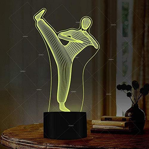 Chino Kung Fu 3D luz de noche LED colorido deslizante USB táctil Control remoto lámpara de escritorio decoración del dormitorio del hogar juguetes de regalo especiales para niños
