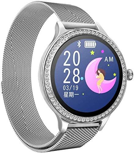 Reloj inteligente para mujer, pulsera de actividad con monitor de ritmo cardíaco, presión arterial, reloj inteligente para mujer, fácil de usar, plateado, plateado y plateado