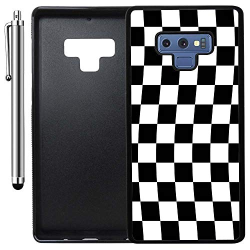 Custom Case Compatible with Galaxy Note 9 (Checkered Flag Finish Line) Edge-to-Edge Rubber Black Cover Ultra Slim | Lightweight | Includes Stylus Pen by Innosub