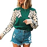 Suéter De Mujer Color De Contraste Mosaico Estampado De Leopardo Suéter De Manga Larga Suéter Casual con Estampado Animal Creativo
