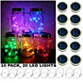 Upgraded Solar Mason Jar String Light Lids, 10 Pack 20 LED Fairy Firefly String Light Inserts with 10 Hangers Starry Lighting, Waterproof and Rust Resist for Patio Lawn Garden Wedding Lantern Decor