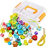 Come with storage box and various shape beads: you will get 65 pieces wooden string beads with different design including animal, vegetable, fruit, vehicles and round beads, 4 pieces threads and 1 piece storage box, this set is fun to play, easy to s...