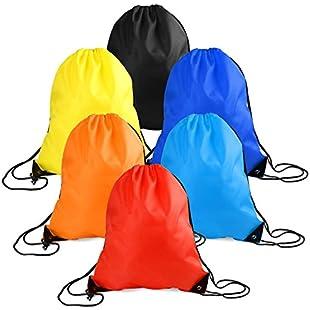 WXJ13 6 Pieces Drawstring Tote Bag Cinch Gym Bags Storage Backpack