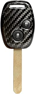 Newsmarts Carbon Fiber Replacement Remote Fob Key Case Cover 2 Buttons for Honda Civic Jazz