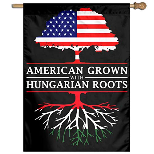 "FFFlag-er American Grown with Hungarian Roots Welcome Garden Flag Yard Flag Family Flag 27""x37"""