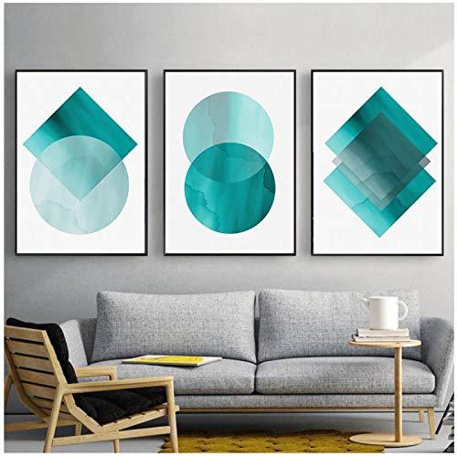 MENGX Lienzo de Pintura de Creatividad, Arte de Pared geométrico Verde Azulado de Color Verde grisáceo, decoración hogar de la Sala de Estar 15,7 x 23,6 Pulgadas (40 x 60 cm) sin Marco 3 Piezas