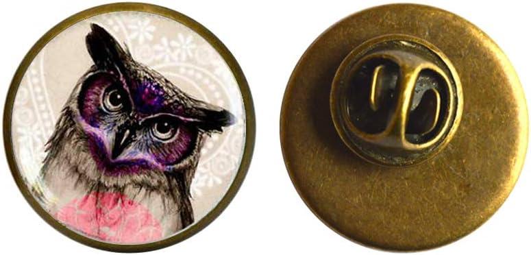 Owl Pin Max 44% OFF Brooch Art Glass J Dome owl Ranking TOP20