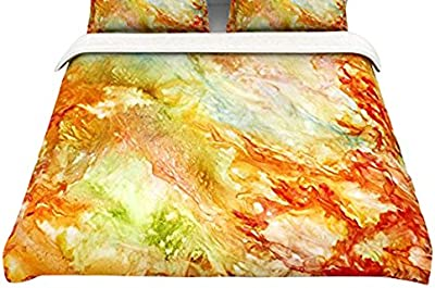 104 x 88 Kess InHouse EBI Emporium Minty Way Green Teal Painting King Featherweight Duvet Cover