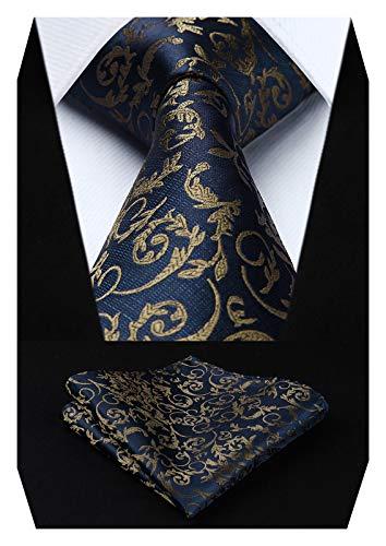 HISDERN Panuelo de lazo de boda Paisley floral Panuelo de corbata de hombre y conjunto de bolsillo cuadrado Azul marino/Marron