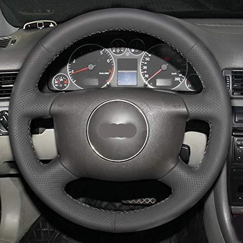 XLTWKK Cubierta de Volante de Coche Cosida a Mano en Cuero Negro, para Audi A6 2000-2004, para Audi A3 2000-2003 A4 B6 2002