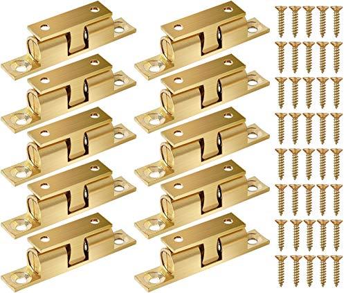 KUPINK 10 PCS Doble Bola Pestillo Armario Pestillo Bola Acero con Contraplaca Muelle Empotrar para Puerta de Armario Muebles Baño Cerradura 42mm