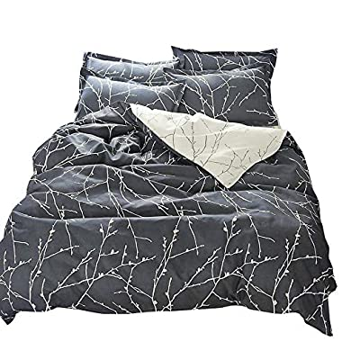 VM VOUGEMARKET Reversible Grey Bedding Set,3 Pieces Branch Leaves Duvet Cover Set King -Hotel Quality 100% Cotton - Luxurious, Comfortable, Breathable, Soft and Durable (King, Style6)