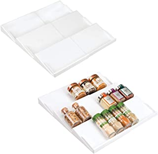 mDesign Adjustable, Expandable Plastic Spice Rack, Drawer Organizer for Kitchen Cabinet Drawers - 3 Slanted Tiers for Garlic, Salt, Pepper Spice Jars, Seasonings, Vitamins, Supplements, 2 Pack - White