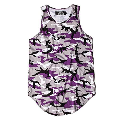 9 Farben Tank Camouflage Curved Hem Hip Hop T-Shirt Männer Weste Ärmellos Top Stringer Fitness Lässig Grenn Red Purple XL