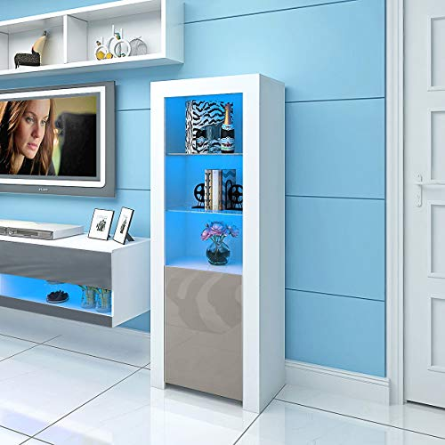 Panana LED Display Storage Cabinet 160cm Height High Gloss Front Tall Cupboard with Glass Shelves (White/Grey)