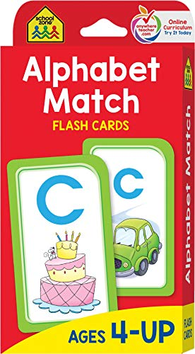 School Zone - Alphabet Match Flash Cards - Ages 4 and Up, Preschool to Kindergarten, ABC
