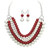 Gypsy Jewels 4 Row Layered Bib Bubble Statement Silver Tone Necklace & Earrings Set (Red & White)