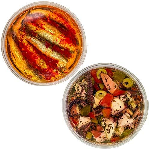 Food-United Antipasti-Set-Paket - TINTENFISCH-SARDELLE - 2 x 280g – Paprika-Octopus-Salat & Rote-Chili-Sardellen - Anchovis-Pulpo für Oriental-Pizza-Eintopf-Nudeln-Antipasti