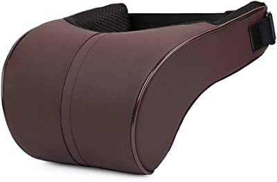 ZHONGLI Car Neck Pillow PU Leather Travel Pillow for Head Rest Neck Support for Car Seat (Brown)