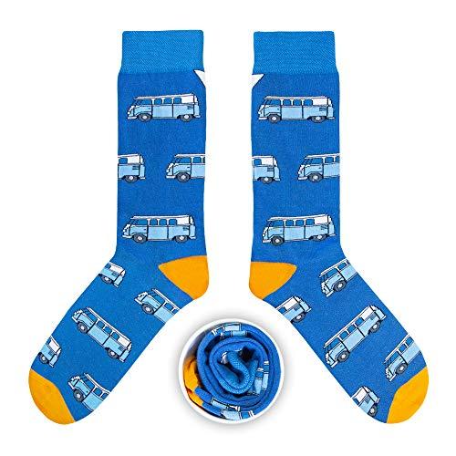 Preisvergleich Produktbild CUP OF SOX Herren Damen Lustige Socken mit Bulli in der Pappbecher - Gemusterte Bunte Geschenk Socken für VW Bus T1 Liebhaber - Socken aus hochwertige Baumwolle (Blau,  41-44)
