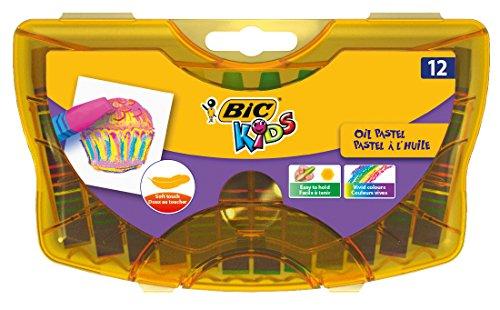 BIC Kids 933957 Ölmalkreide Oil Pastels, 12 Stück, 12-farbig sortiert