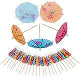 Palillos de Cóctel de Madera,OSUTER 144PCS Paraguas Cóctel de Colores Una Vez Palillos de Fruta para Boda Fiesta Aperitivo Brochetas de Frutas Decoración