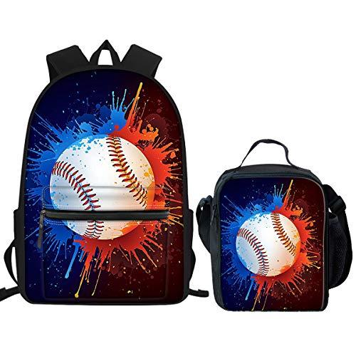 Nopersonality Kinder Schulranzen mit Lunchtasche Set Wasserdichter Leichter Rucksack, Baseball School Bag Set (Blau) - Nopersonality
