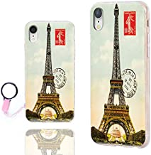 iPhone XR Case Cute,ChiChiC 360 Full Protective Shockproof Thin Slim Flexible Soft TPU Clear Case Cover with Cool Design for iPhone XR 6.1, Vintage Postcard with Eiffel Tower in Paris