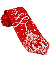 John William Mens Christmas Tree Ornament & Nativity Necktie Holiday Red Religious Tie