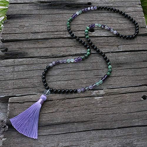 CCXXYANG Co.,ltd Necklace 8Mm Natural Stone Beads Fluorite Amethyst Ruby Zoisite Onyx Japamala Sets Yoga Meditation 108 Mala Beads