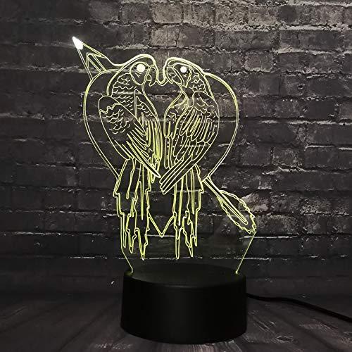 Vogel kussen 3D voetbal nachtlampje, optische illusie LED nachtlampje USB tafellamp, voor kinderen Kerstmis verjaardag beste cadeau speelgoed