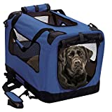 2PET Foldable Dog Crate - Soft, Easy to Fold & Carry Dog Crate for Indoor & Outdoor Use - Comfy Dog Home & Dog Travel Crate - Strong Steel Frame, Washable Fabric Cover - XXLarge, Bonny Blue