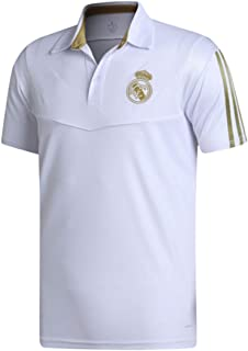 Real Madrid FC Soccer Polo Shirt for Mens Home Crest Club Shirt White