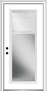 National Door Company ZFS686BLFS28R Fiberglass Smooth, Primed, Right Hand Inswing, Exterior Prehung Door, Clear Glass Internal Blinds, Full Lite, 32