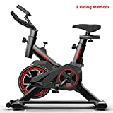 AJUMKER Indoor Cycling Bike,Exercise Cycling Racing Bike Belt Driven,Home Fitness Trainer with LCD Display,Adjustable Handlebars & Seat Professional Exercise Bike,Upright Sporting Equipment,Black