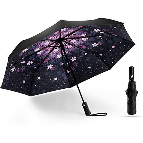 Parapluie Automatique Avancé Et Durable Protection UV Trois Parapluie Pliant pour Entreprise Solide 8 Mots Vent Et Vent