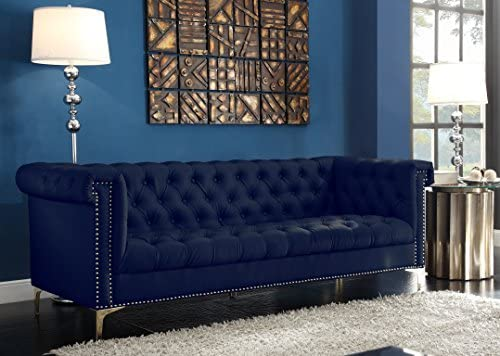 Best Iconic Home Gold Navy Blue Winston PU Button Tufted with Nail head Trim Tone Metal Sofa