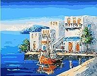 大人のための数字で描くアクリル顔料ブラシとキャンバスを備えた初心者と子供のためのDIY油絵キット16x20インチの海辺の休日