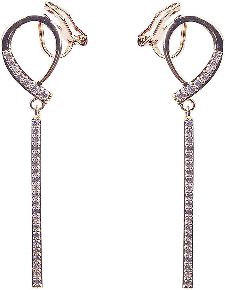 Cubic Zirconia Bar Clip on Dangle Earrings non Pierced Soft Pads Circle Rhinestone Tassel for Women Girl