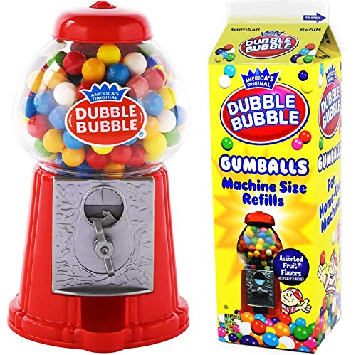 Classic Red Dubble Bubble Gumball Machine - with Refill Carton Dubble Bubble Gumballs (270 pc) Fruit Flavored. Coin Operated Gumball Machine Kids Toy Bank, Candy Dispenser