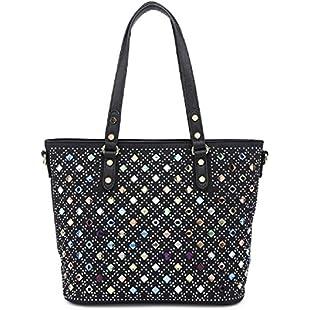 Customer reviews Ladies Designer Handbag With Multi Gem - Women's Shoulder Bag Diamante Stud Bucket Tote MA36041 (Medium, Black)