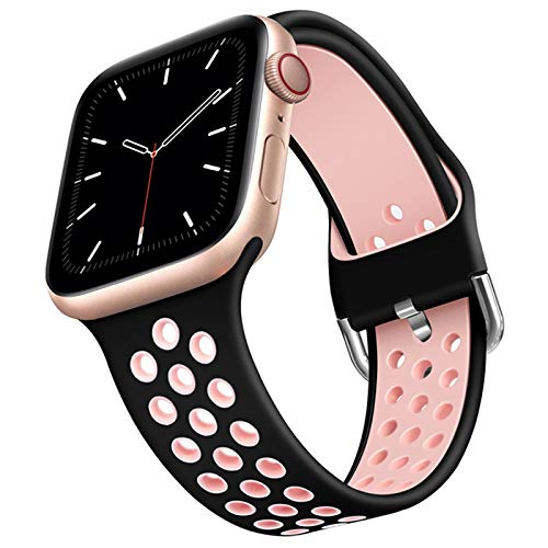 Compatible for Apple Watch Band 44mm 42mm Soft Silicone Sport Band Replacement Wrist Strap Compatible for iWatch Series 6/SE/5/4/3/2/1 Suitable for Men and Women (Black/Pink, 42/44mm (S/M))