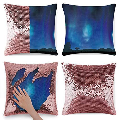 pealrich Fundas de almohada cuadradas para sofá cama, color azul turquesa aurora boreal franela, fundas de cojín decorativas, 40,6 x 40,6 cm