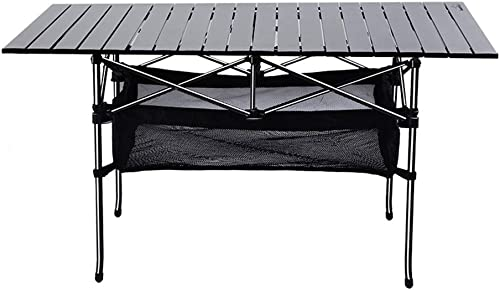 ZFF Pliant Tables de Camping Aluminium Roll Up Table Haut Portable de Plein Air Table pour Pique-Nique à Manger Cuisine Jardin avec Net Pocket
