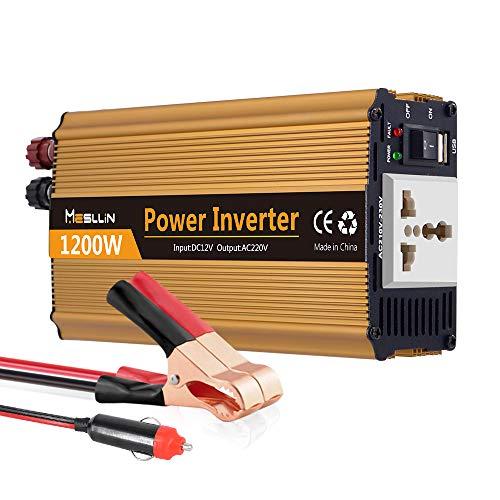 Mesllin Auto-Wechselrichter, 1200W modifizierter Sine Wave-Autokonverter DC 12V zu 240V AC-Netzteil für Laptop, Kamera, Smartphone, Haushaltsgeräte