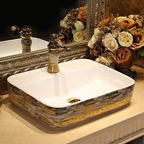 ZHFF Waschbecken, Waschbecken Gold Bunte Vintage-Stil Keramik Runde Waschbecken Bad Waschbecken Labor ovale Keramik Waschbecken