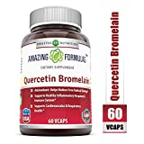 Amazing Nutrition- Quercetin 800 Mg with Bromelain 165 Mg, 60 Vcaps - Supports Heart & Joint Health, Energy Production, Respiratory Health, Inflammatory Response and Overall Healthy Well-Being*